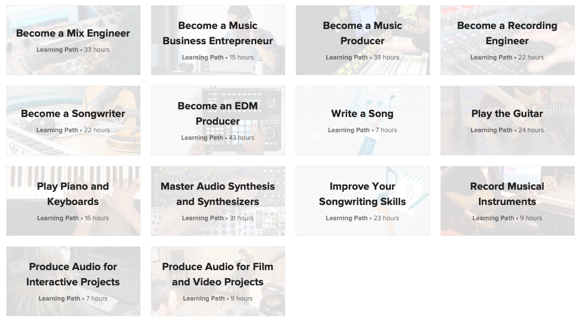 Screenshot of Audio + Music learning paths on lynda.com.