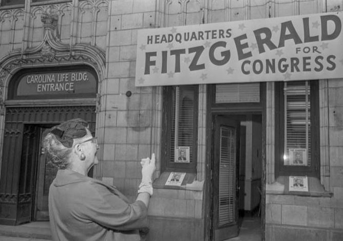Martha Fitzgerald at her campaign headquarters, January 25, 1962.