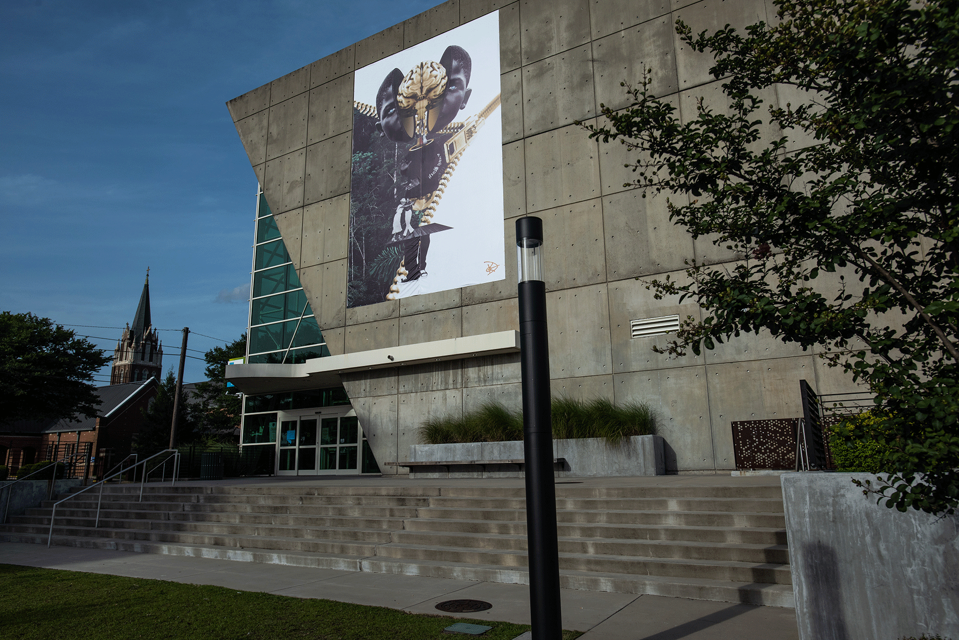 Local art hangs above Richland Library Main's Hampton Street entrance