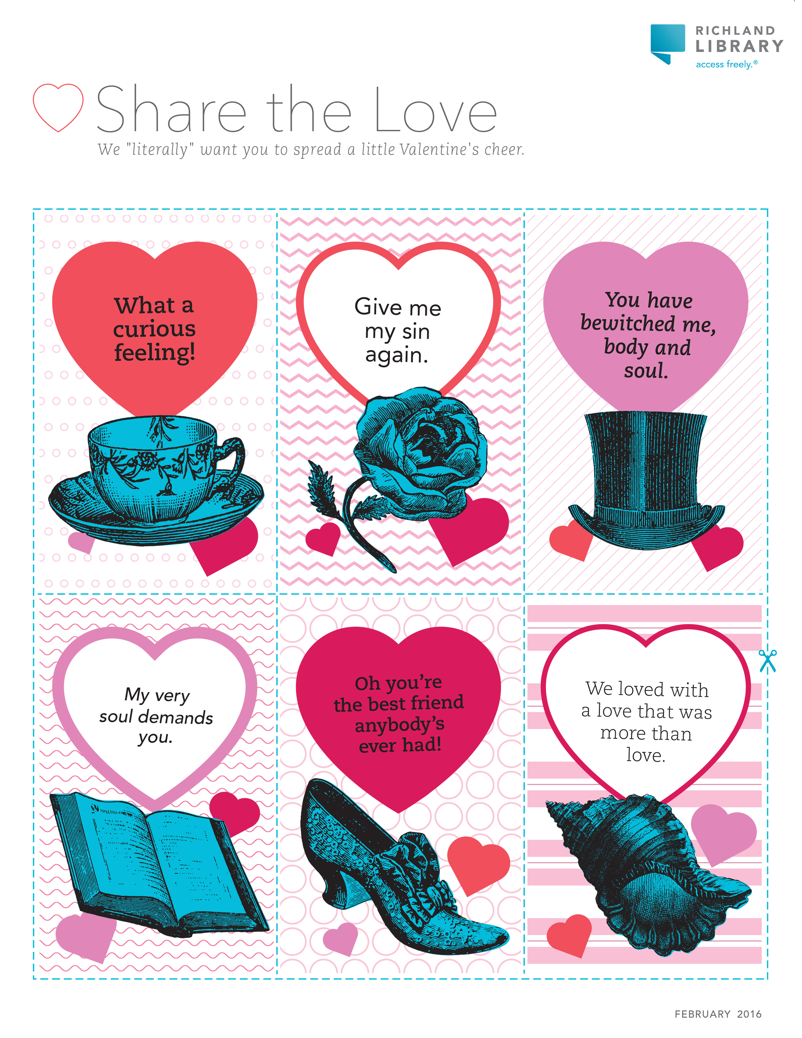 Print our literary inspired Valentine's Day cards