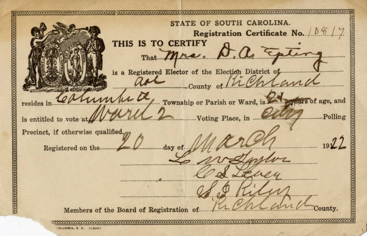Voters Registration Card for Mrs. Annie Epting 1922