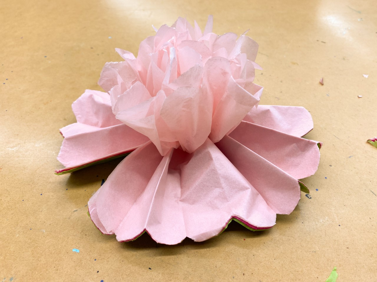 tissue paper flower layers fluffed
