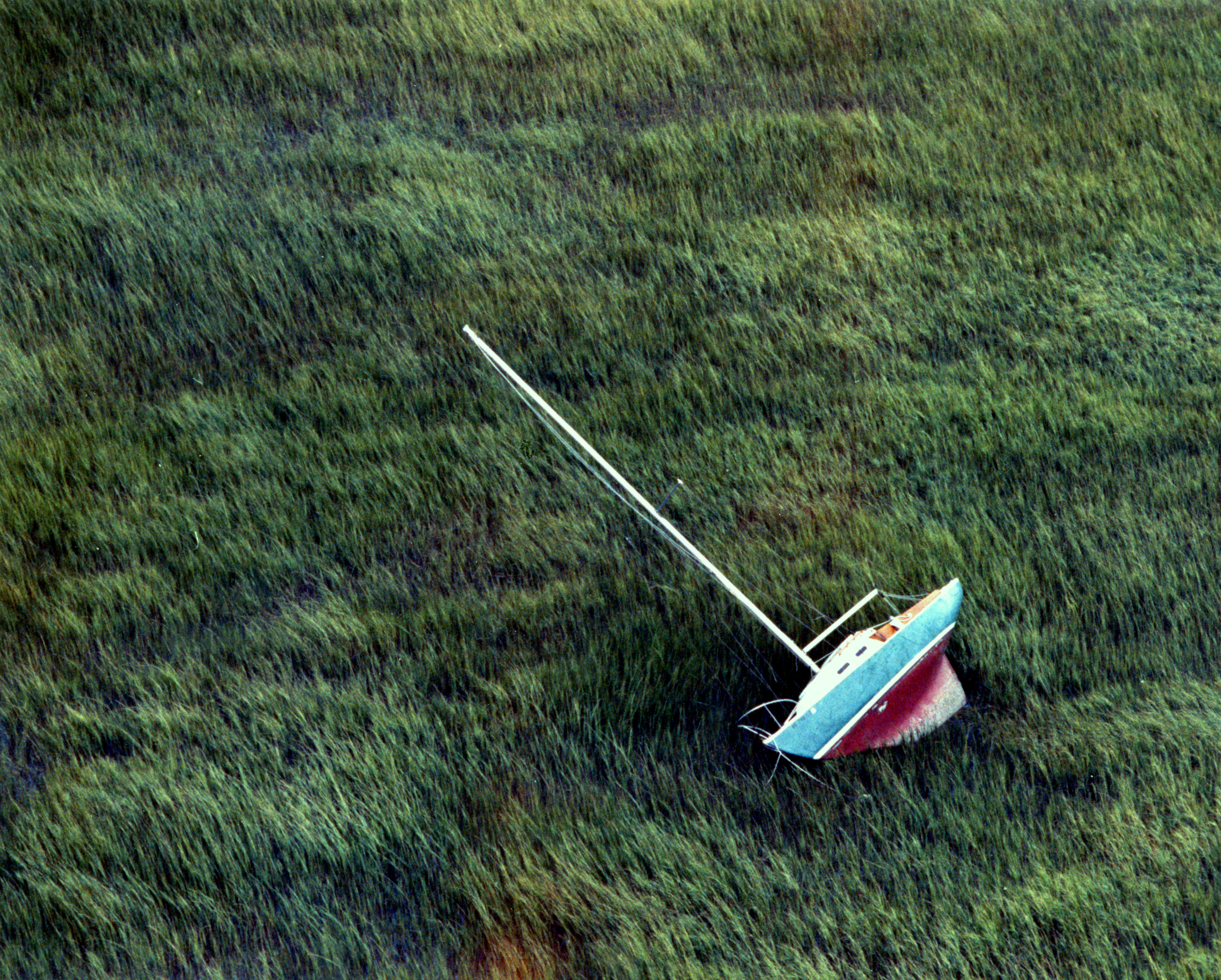 Sail boat washes up in the marsh during Hurricane Hugo