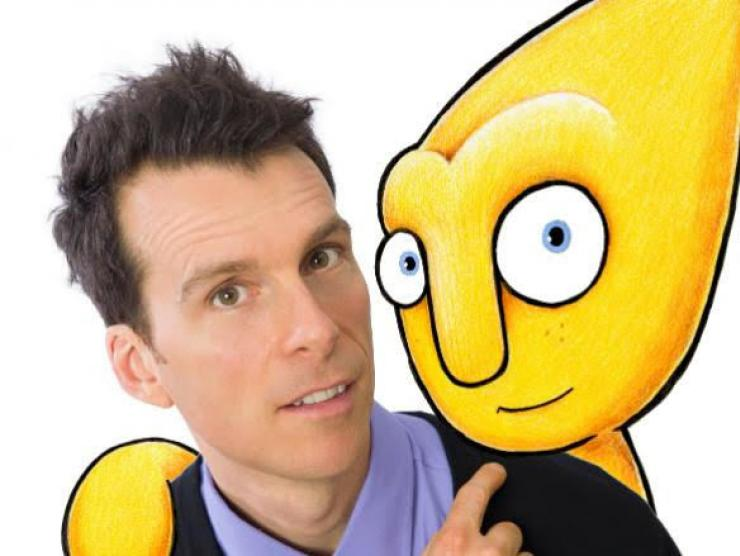 Morgan Taylor and animated character Gustafer Yellowgold