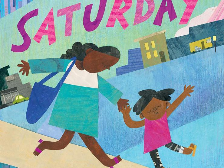 A Black mother and her daughter are holding hands and walking down the street.  The mother wears a teal and white dress with a blue purse draped over her shoulder.  Her daughter wears a pink t-shirt and patterned tights.