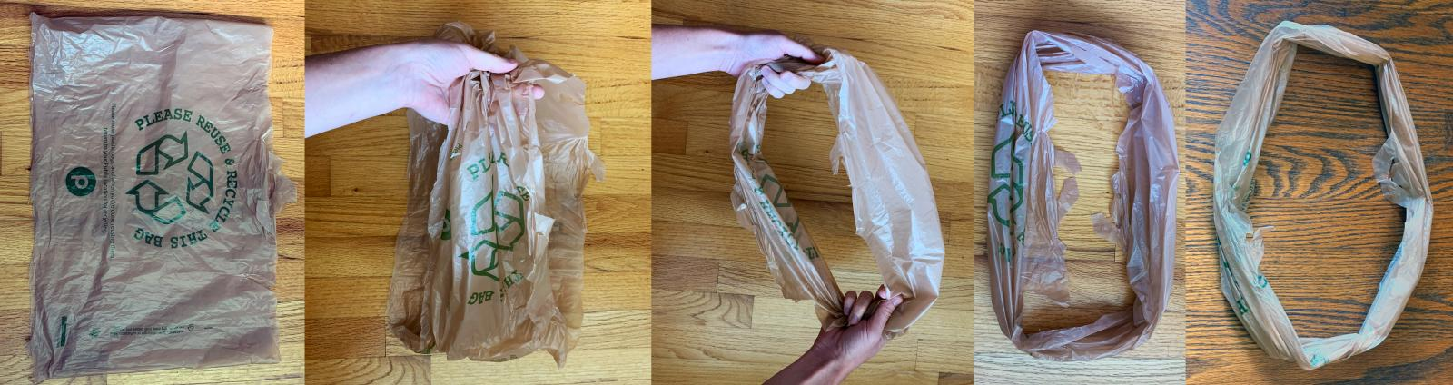 A series of images describing how to open and flatten the bag into a circle