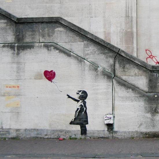 "Banky's original ""Girl With Balloon"" in London"
