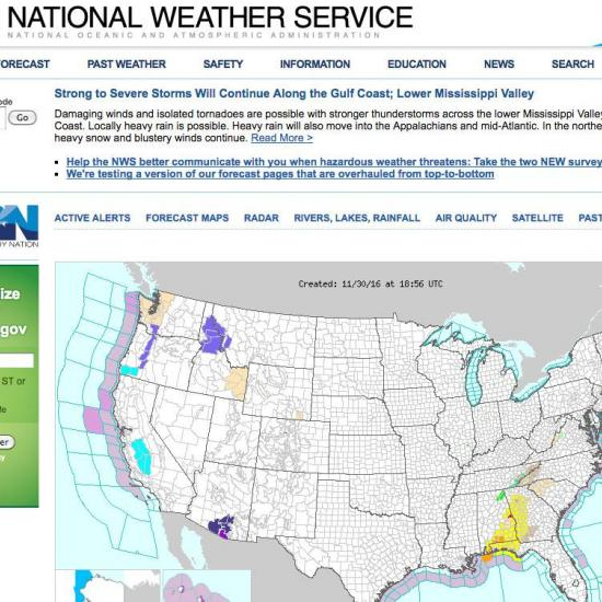 Notifications from the National Weather Service