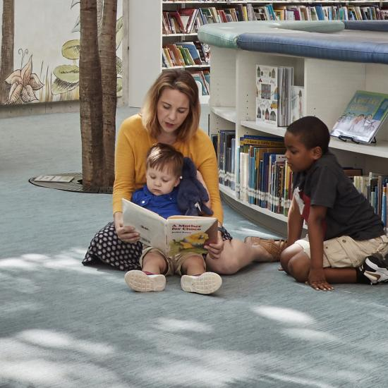 Emily reading to children