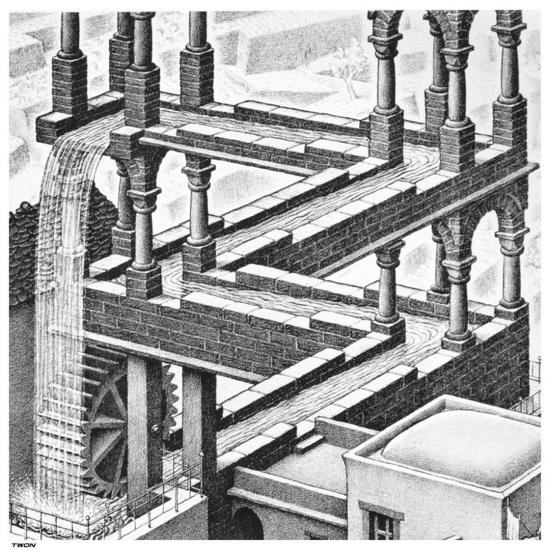 M.C. Escher artwork with impossible perspective
