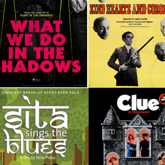 Posters for What We Do in the Shadows, Kind Hearts and Coronets, Clue, and Sita Sings the Blues