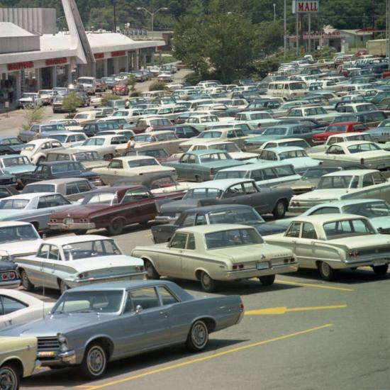 Automobiles in the parking lot at Richland Mall