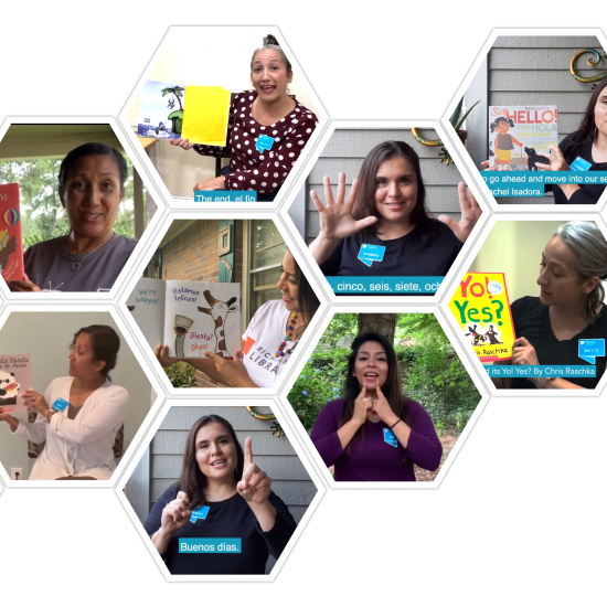 Collage picture of the Una Voz Story time team