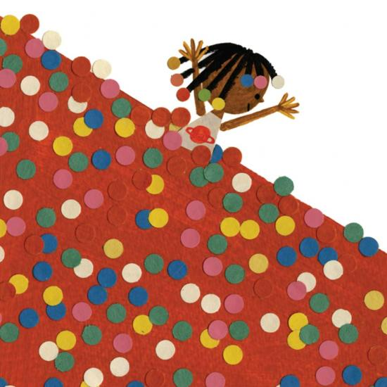 Image of a little Black girl with colorful beads in her hair with arms upstretched out of a sea of colorful dots