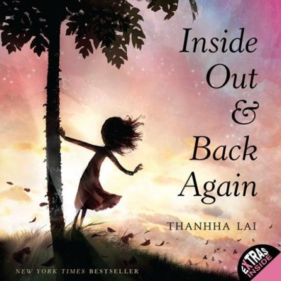 Book Cover Inside Out & Back Again Silhouette of a Vietnamese Girl Holding Onto a Papaya Tree