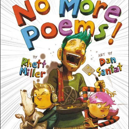 Cover of No More Poems! Featuring Dad with blue hair singing into a spatula and two children on either side of wincing