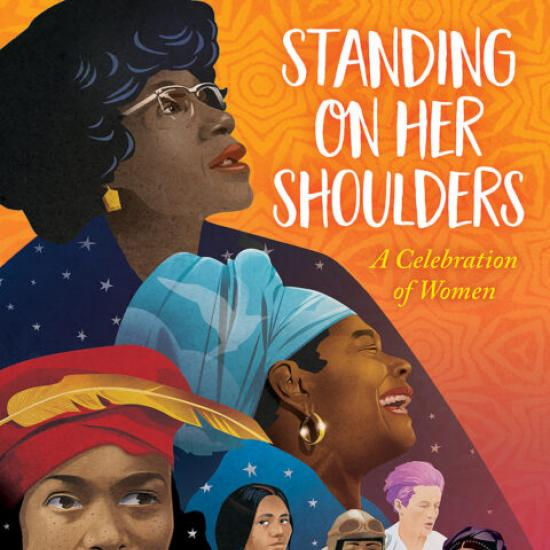 Book Cover Standing on Her Shoulders Images of Diverse Women Collaged Together