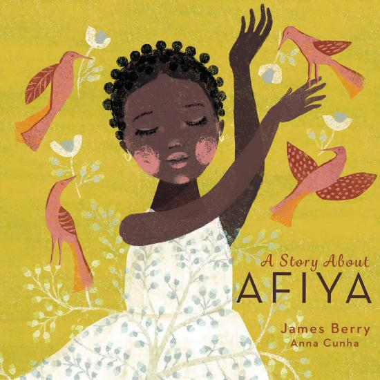 Image of a young black girl with arms gracefully stretched to the sky surrounded by red and pink birds with a white dress overlaid by leaves and branches