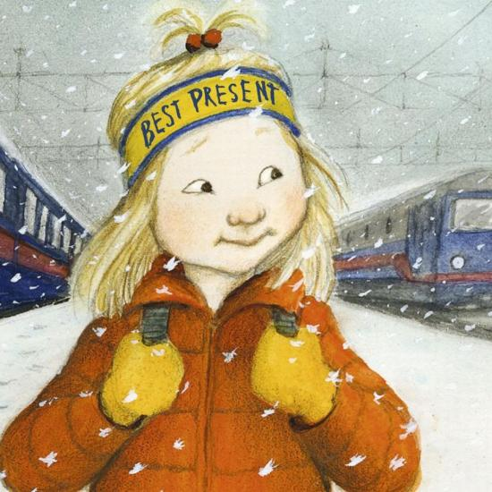 Image of a young white girl wearing an orange coat and yellow gloves clutching the straps of her backpack walking between two blue trains in the falling snow