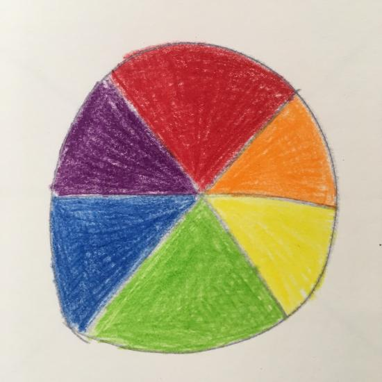 Simple drawn circle with six sections colored in red, orange, yellow, blue, purple.